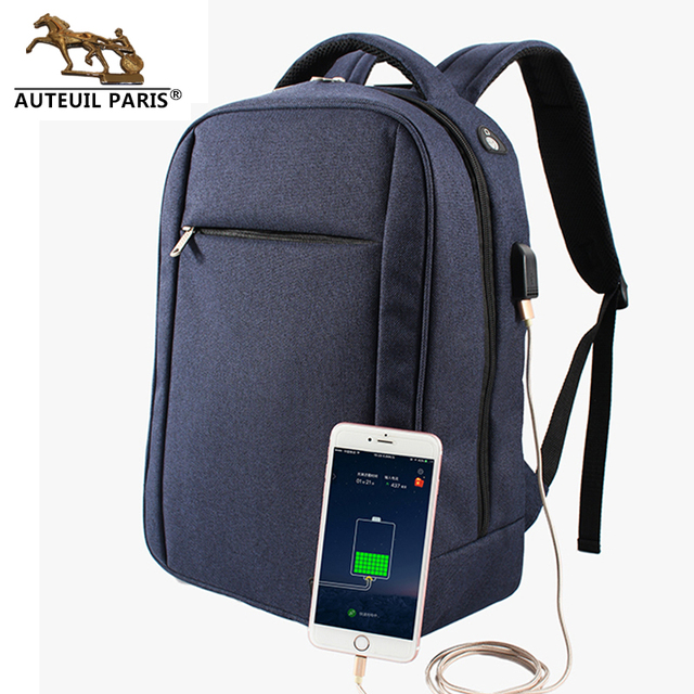 1fae3bfde25 Men Backpacks With Usb cable Chargers 15inch Laptop For students Polyester  Oxford SchoolBag Waterproof Factory Auteuil
