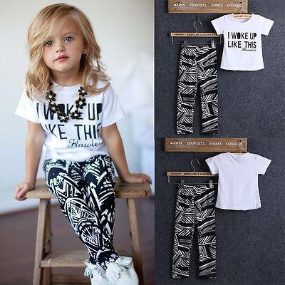 370f1fd8099 Summer Toddler Kids Baby Girls Outfit Clothes T shirt Tops+Long Pants  Trousers 2PCS Clothes Set-in Clothing Sets from Mother   Kids on  Aliexpress.com ...