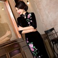 Elegant Women Velvet  Purple blackTraditional Chinese Dress Mandarin Collar  Cheongsam Buckle Slit Qipao Dress
