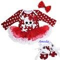 Рождество череп ребенка красный горошек белый оборками с длинными рукавами боди юбка и повязка на голову детская кровать в обуви 0 - 18 м