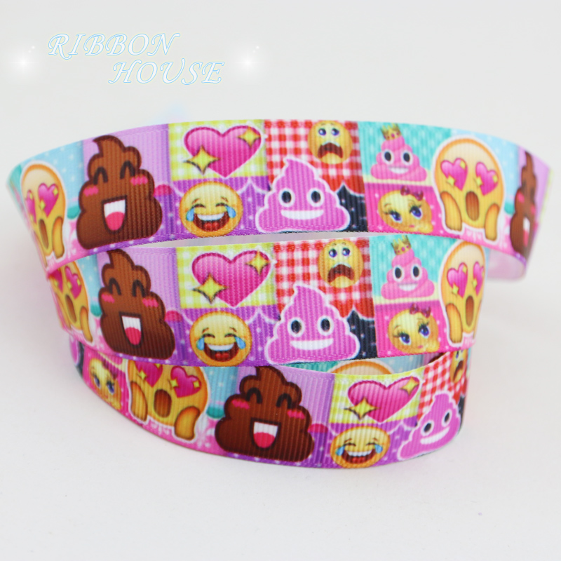 (50 yards/roll) 7/8 (22mm) Cartoon lovely expression printed grosgrain ribbon gift ribbons