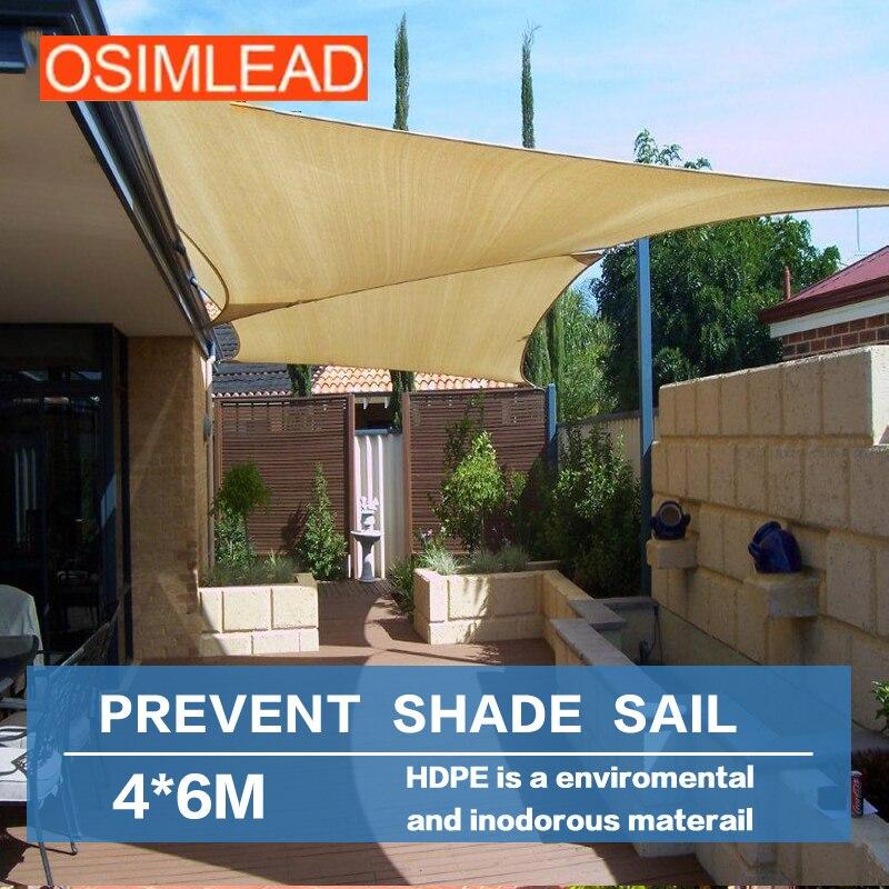 OSIMLEAD 4*6 M Sun Shade Sail RECTANGLE CANOPY COVER   OUTDOOR PATIO AWNING