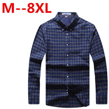 9XL 8XL 7XL 6XL 5XL New Autumn Fashion Brand Men Clothes Slim Fit Men Long Sleeve Shirt Men Plaid Cotton Casual Men Shirt Social