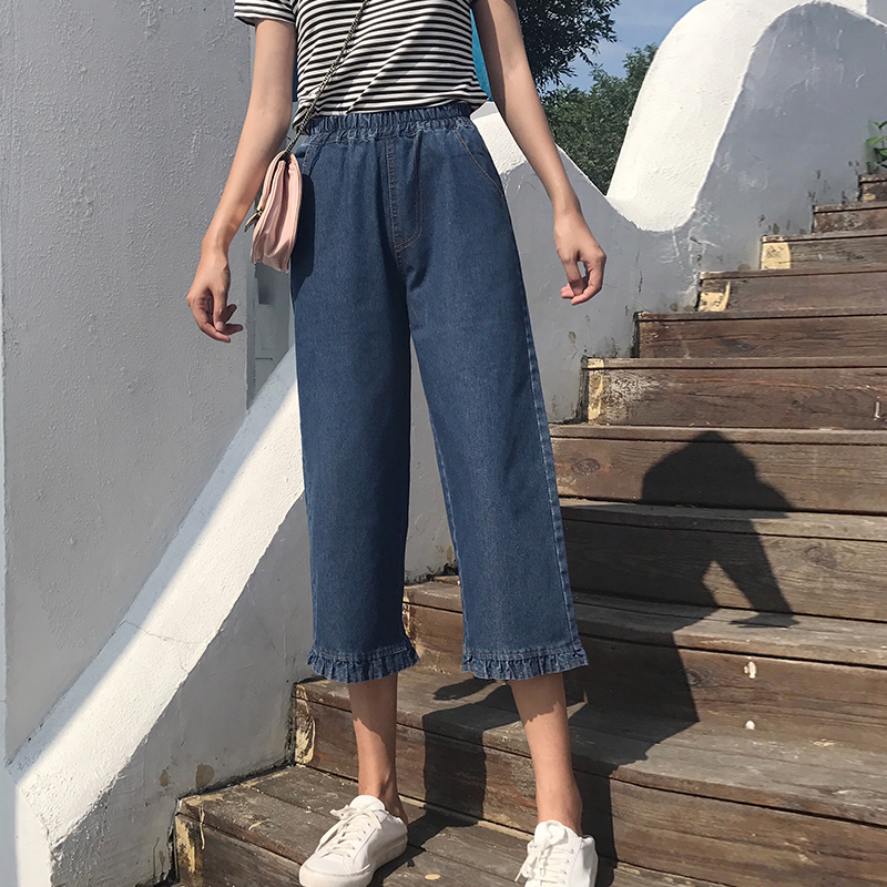 Plus size S - 5XL woman thin jeans autumn 2018 new elastic waist wide leg   pants     capris     pants   female denim trousers bule pockets