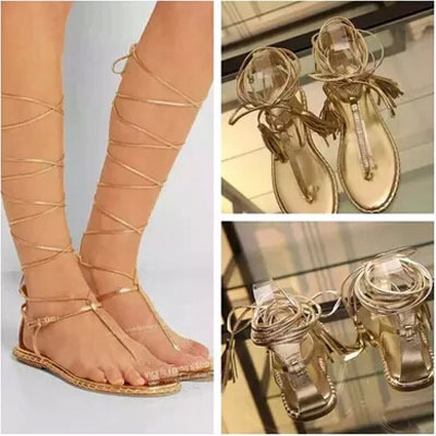 Sexy Women Gold Leather Flat Flip-flop Ankle Tie Shoes Summer Thong Sandals  T Strap Lace Up Gladiator Sandals