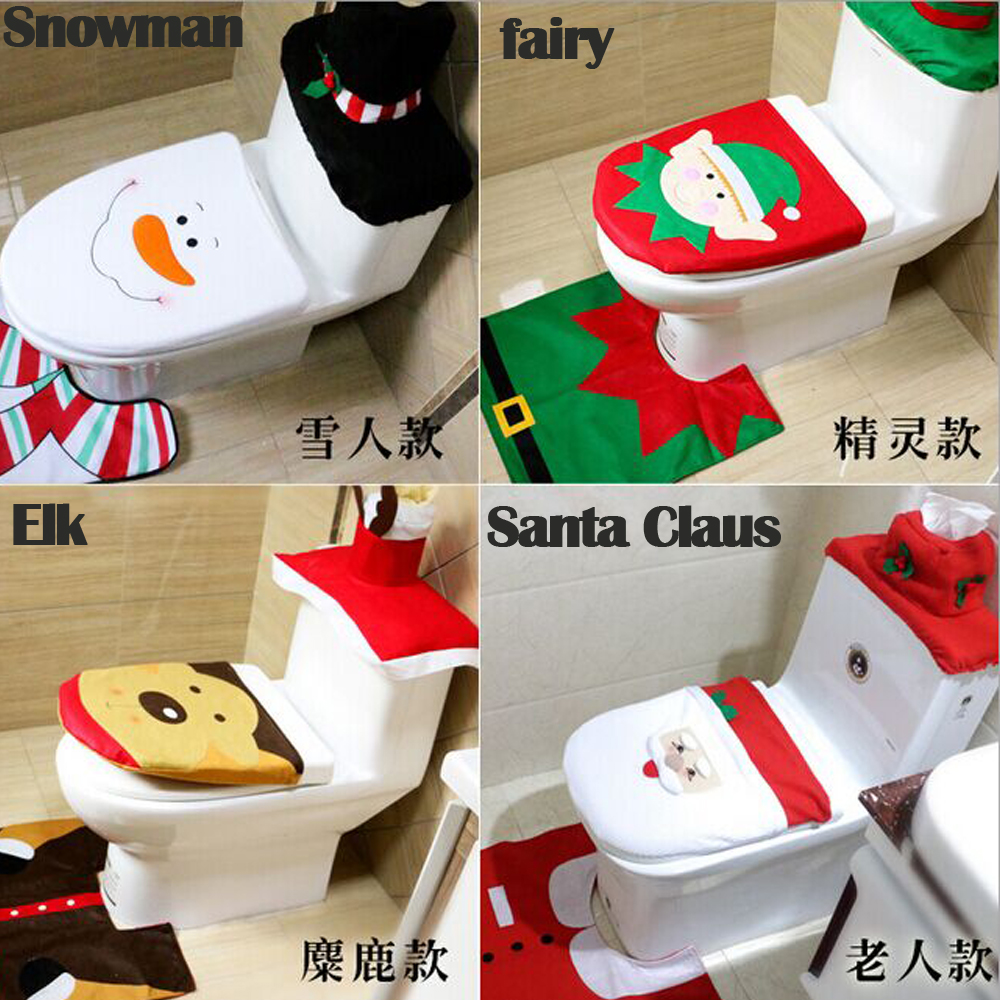 2016 Hot Fancy Fancy Santa Toilet Seat Cover And Rug Rug Bathroom Set Cont