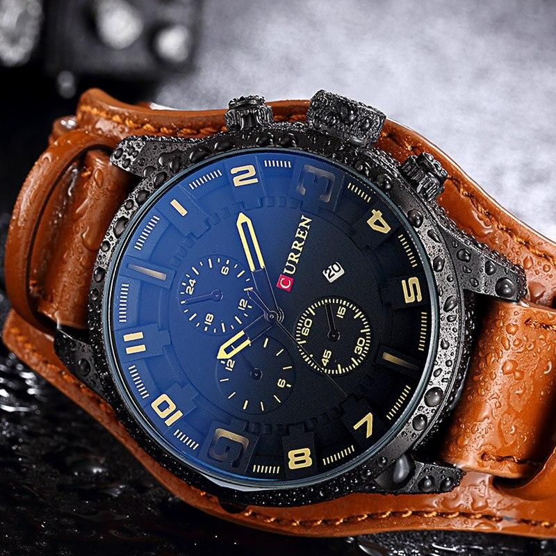 CURREN Для мужчин s часы лучший бренд роскошные кожаные аналоговые кварцевые Для мужчин часы Военная Спорт мужской Водонепроницаемый наручные...