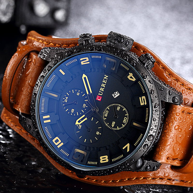 CURREN Mens Watches Top Brand Luxury Leather Analog Quartz Men Watch Military Sport Male Waterproof Wristwatch Relogio Masculino  new crrju mens watches top brand luxury quartz watch men waterproof sport military watches men leather relogio masculino 2017