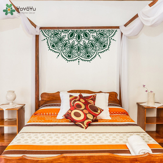 YOYOYU Wall Decal Half Mandala Flower Stickers Vinyl Master Bedroom Headboard Art Decor Moroccan