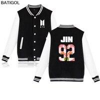 BATIGOL BTS Kpop Baseball Jacket Winter Hoodies Men Popular Bangtan Hip Hop Harajuku Hoodies Men Casual