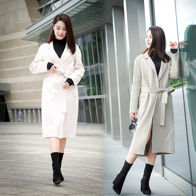 2018 New Autumn Winter Cashmere Coat Long Women s Woolen Coat Solid Big O neck Casual