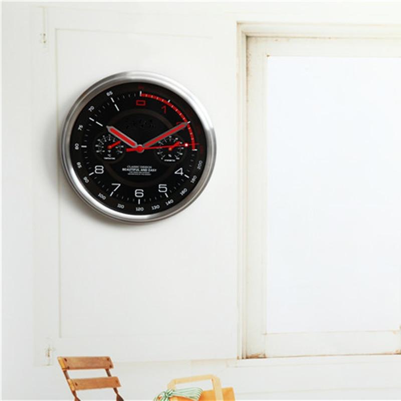 Horloge murale moderne en métal thermomètre hygromètre Auto Pow patrouille Guess montre montres mécanisme Relogio Parede cadeau d'anniversaire 50ZB35 - 4