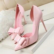 Новая Коллекция Весна Лето Женщины Насосы Сладкий Bowknot Туфли на Высоком каблуке Тонкие Розовые Туфли На Высоких Каблуках Полые Отметил Шпильках Элегантный G3168-2