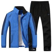 Męskie zestawy odzieży sportowej dresy męskie bluzy kurtki okazjonalne spodnie elastyczne dresy 2019 płaszcz wiosenny + garnitur ze spodniami dla mężczyzn S074