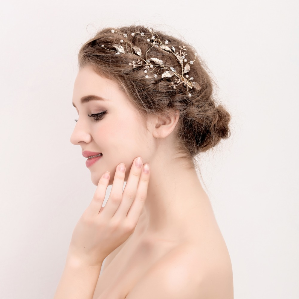 Gold Leaf Branch Bridal Hair Clip Handmade Wedding Headpiece Hair Accessories 2017