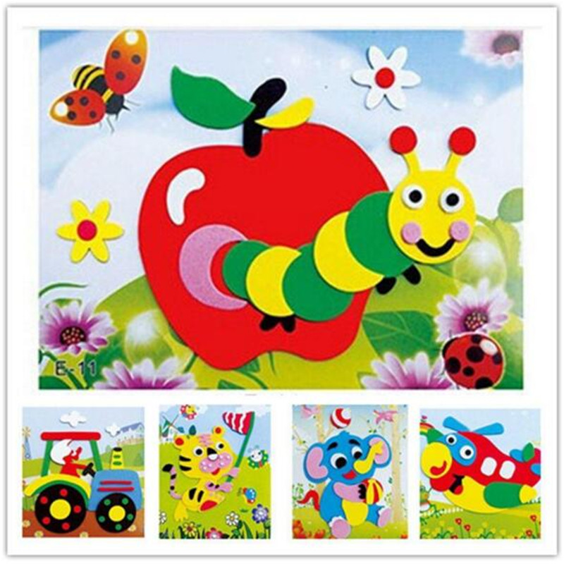 20 Designs /lot Early Learning Education Toys For Children DIY Cartoon Animal 3D EVA Foam Sticker Puzzle Series