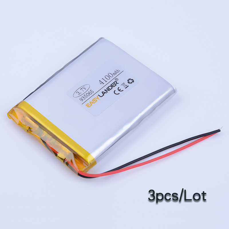3pcs/Lot 935065 <font><b>3.7V</b></font> <font><b>4100mAh</b></font> Rechargeable li Polymer Li-ion <font><b>Battery</b></font> For E-book Vedio power bank Tablet PC mobile Speaker 905065 image