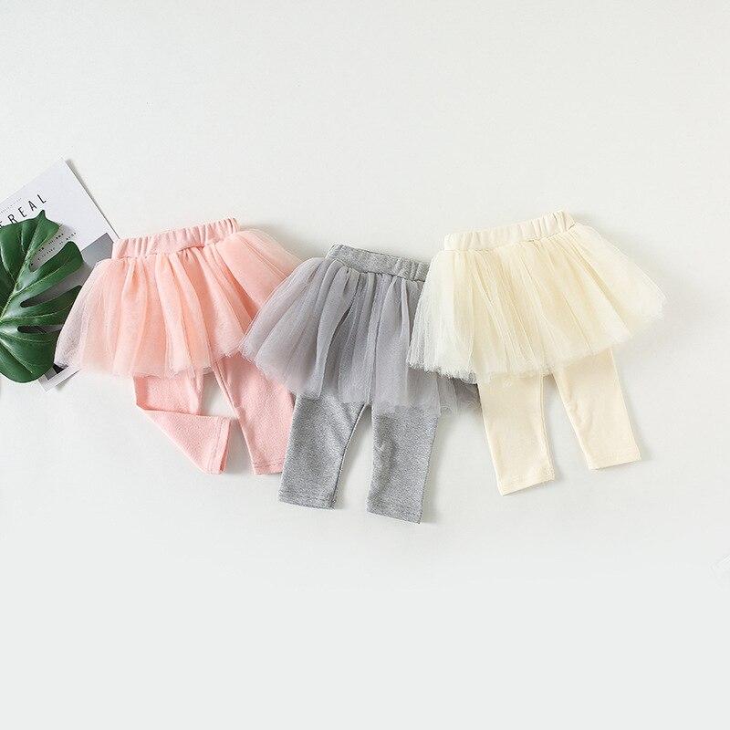 2018 Herbst Mode Baby Mädchen Culottes Leggings Gaze Hosen Party Röcke 5 Schichten Mesh Tutu Röcke Grau Rosa Beige Großhandel Ein GefüHl Der Leichtigkeit Und Energie Erzeugen