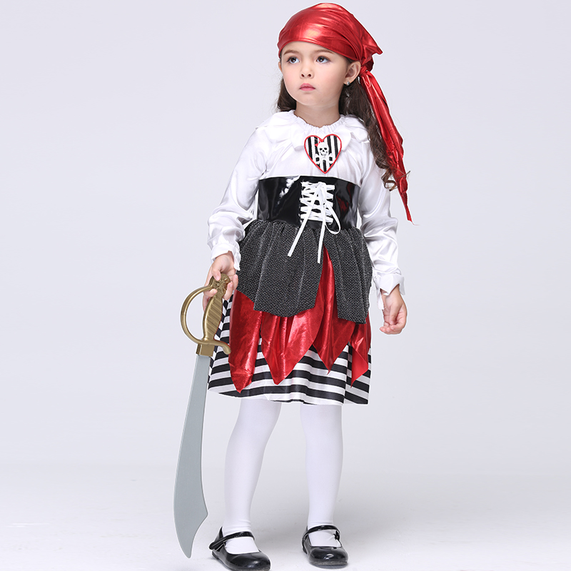 Cosplay Halloween Costume Cartoon Pirate Dress Cute Baby Girls Clothes Children Masquerade Dresses Kids Costumes Menina Vestidos цены онлайн