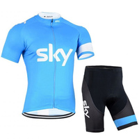 New SKY Bike Team Breathable Cycling Jersey Cycling Short Sleeve clothes Bicycle Jersey bib pant summer Cycling Clothing clothes