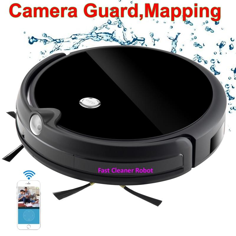 2018 Caméra Garde Appel Vidéo Carte Navitation Sans Fil Aspirateur Robot Avec WiFi App Contrôle, Smart Mémoire, grand Réservoir D'eau