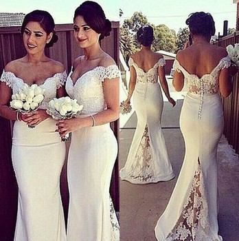 Off Shoulder Lace Satin Bridesmaid Gowns Blue/Peach/Ivory/Champagne/Silver/Coral/Red Satin Lace Bridesmaid Dresses Fast Shipping