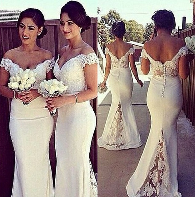 Off Shoulder Lace Satin Bridesmaid Gowns Blue/Peach/Ivory/Champagne ...