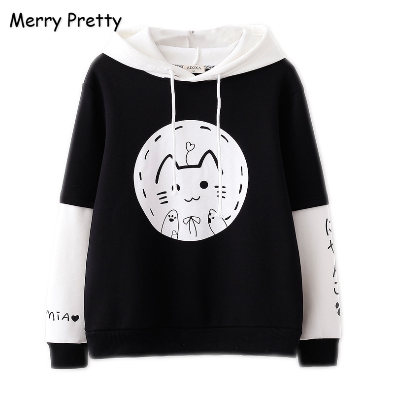 a3c7d525 MERRY PRETTY Women Cartoon Cat Print Harajuku Hooded Sweatshirts Sweet Girl Long  Sleeve Hoodies 2018 Plus