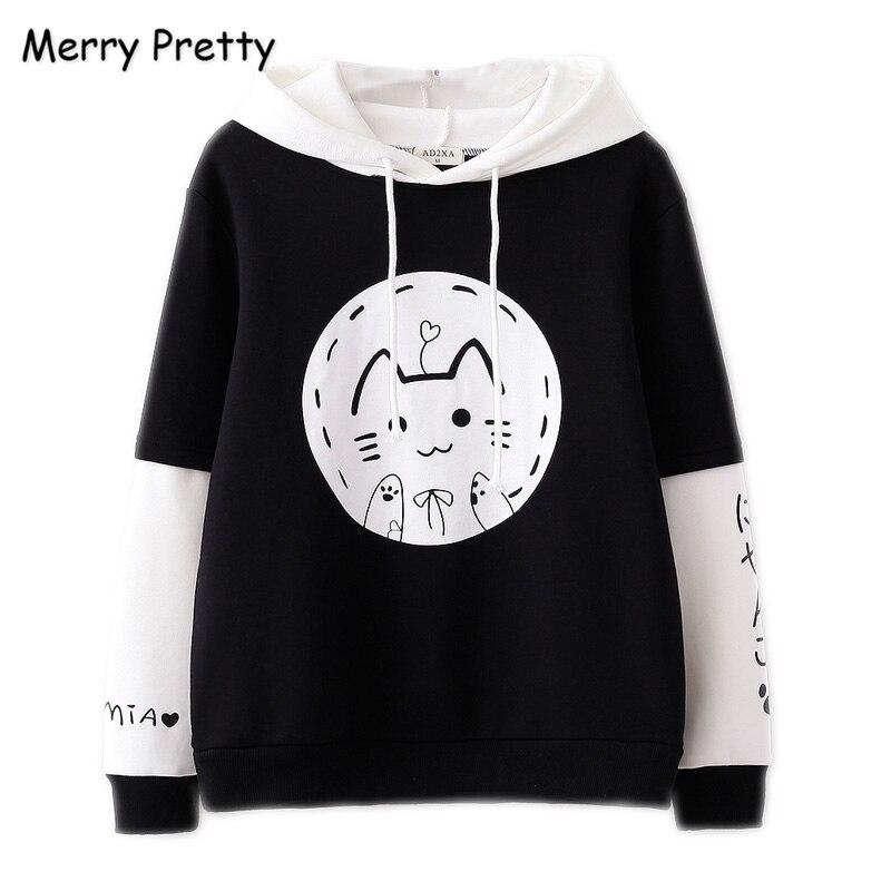 MERRY PRETTY Women Cartoon Cat Print Harajuku Hooded Sweatshirts Sweet Girl Long Sleeve Hoodies 2019 Thick Warm Pullover