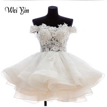 weiyin Real Samples New White Short Wedding Dresses The Brides Lace Wedding Dress Off The Shoulder Zipper Organza Wedding Dress - DISCOUNT ITEM  30% OFF All Category