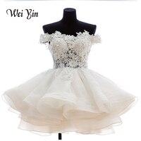 weiyin Real Samples New White Short Wedding Dresses The Brides Lace Wedding Dress Off The Shoulder Zipper Organza Wedding Dress