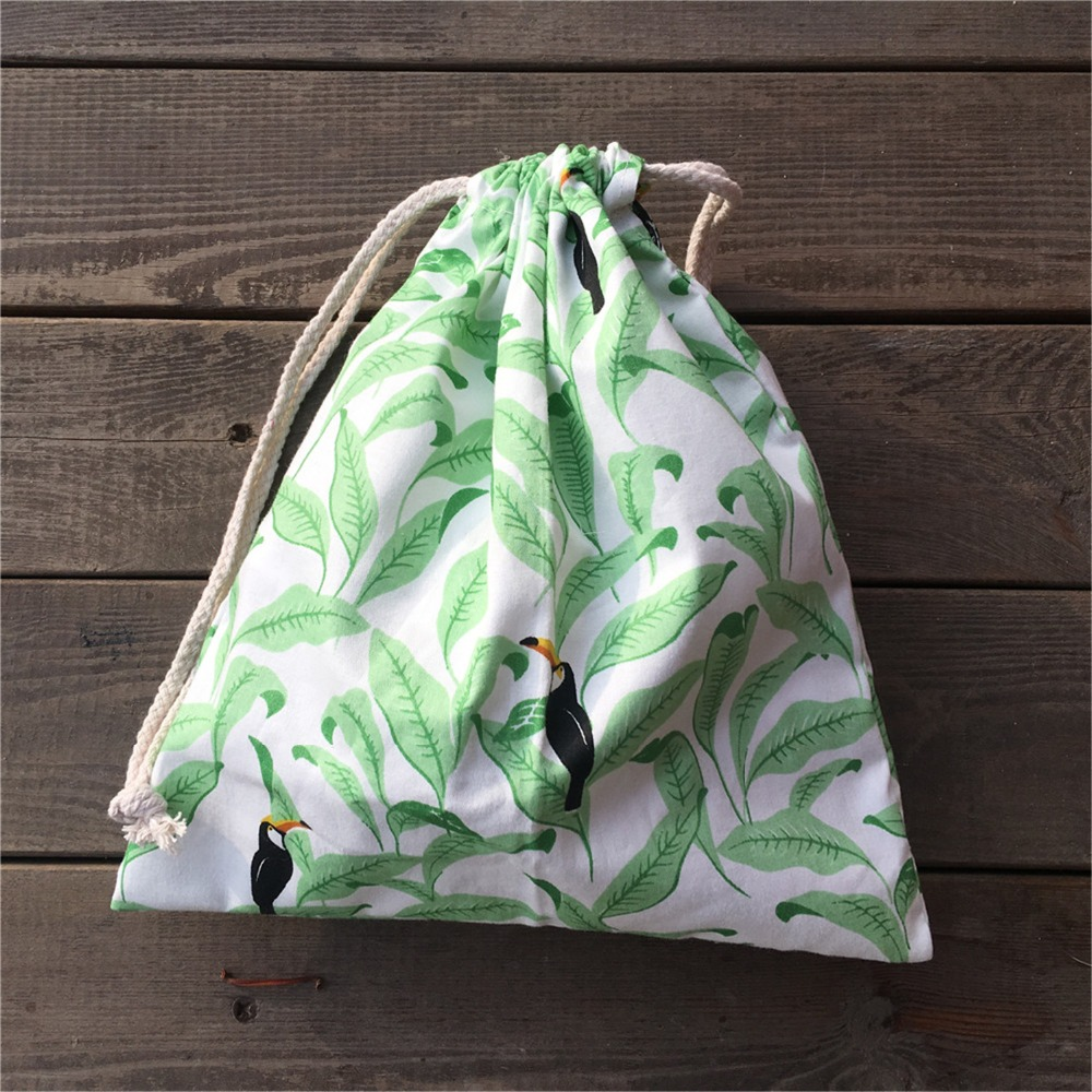 YILE 1pc Cotton Twill Drawstring Pouch Party Gift Bag Print Green Leaf Black Bird YL812c