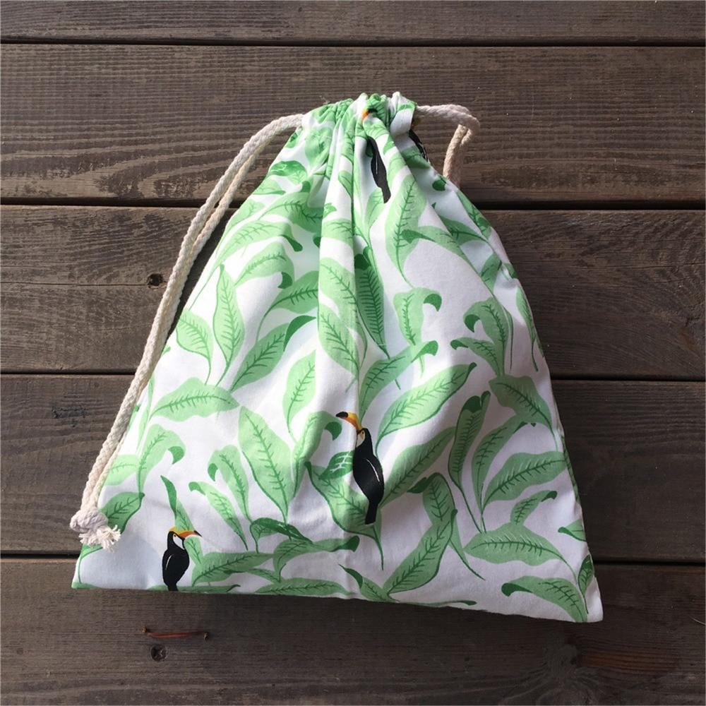 YILE 1pc Cotton Twill Drawstring Pouch Party Gift Bag Print Green Leaf Black Bird YL812c