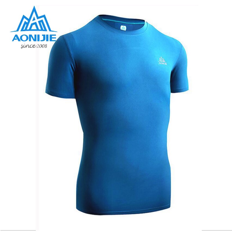AONIJIE Sport Shirt Men Running Short Sleeve Compression Shirt Fitness Men Tights T Shirt Mens Gym Outdoor Quick Dry Sportswear