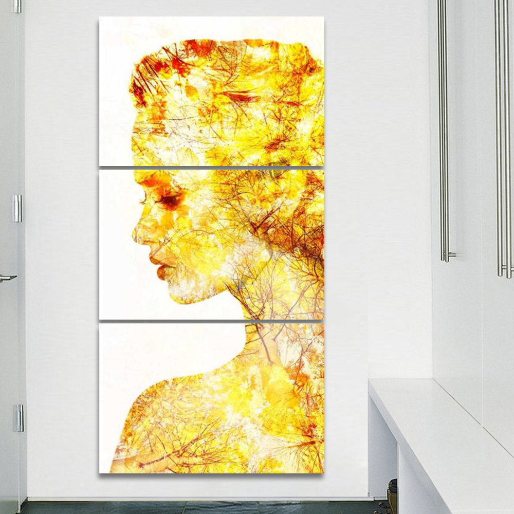 Modern Abstract No Frame 3 Pcs Gold Background Face Poster Art Wall ...