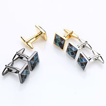 2016 Hot sale Square Multicolor mosaic cat eye of Cufflinks for mens Size 14*14MM Business wedding cuff links With Gifts Box