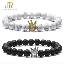 DR CZ Crown King Queen Natural Stone Bracelets for Women Men Charm Distance 8mm Black Matte White Howlite Couples Bracelet Lover