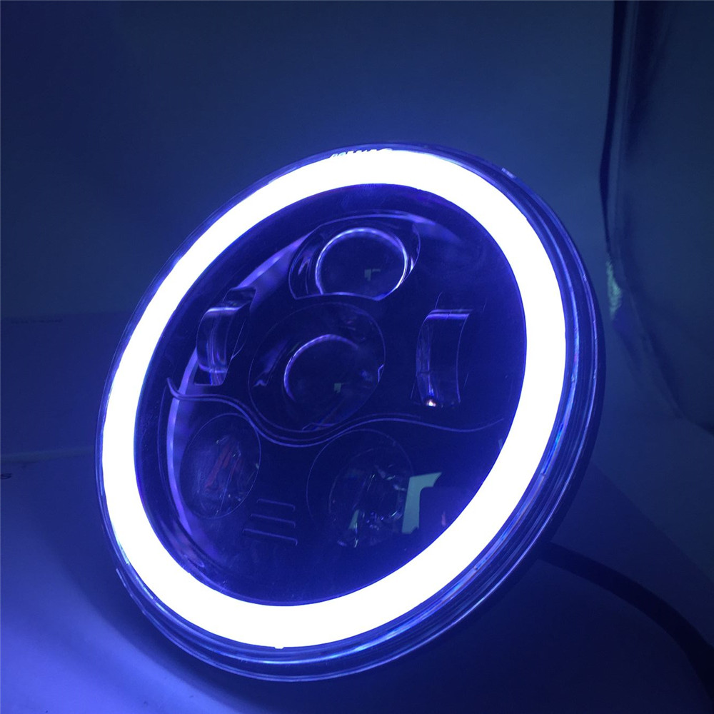Harley Motorcycle 7 Round Daymaker LED Headlights High / Low Beam RGB Angel Eyes Halo Self-driven / Automatic RGB