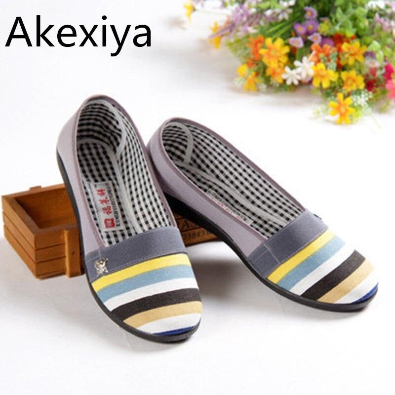 Akexiya 2017 nuevas mujeres zapatos de los planos ocasionales de rayas de algodó