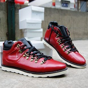 SHIPPING FREE Mens Fashion Casual Wear Roman Leather Shoes Boots RED 39 40 41 42 43 44