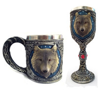 New Funny 3D Wolf Coffee Cups and Mugs Cool Resin Stainless Steel Drinkware Hand Grip Copo