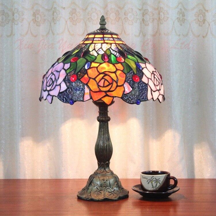 European retro glass rose table lamp bedside bedroom living room decorative lamps