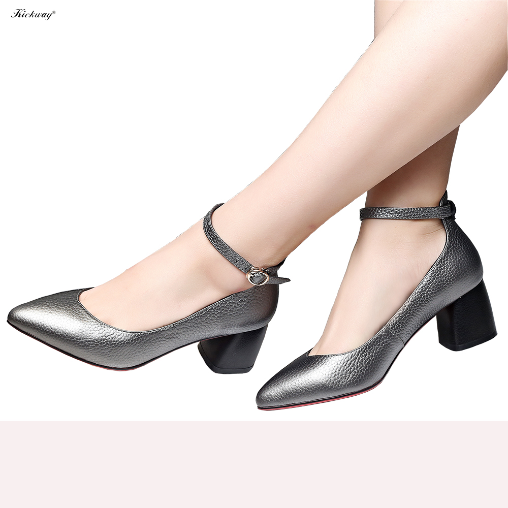 Women ankle strap shoes pumps 2017 spring womens pumps buckle strap shoes pointed toe thick med heel sweet Large size 34-43 737 new 2017 spring summer women shoes pointed toe high quality brand fashion womens flats ladies plus size 41 sweet flock t179