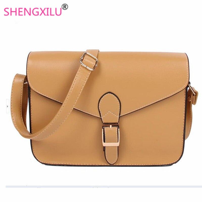 Shengxilu Vintage Brown Women Messenger Bags Famous Designer Female Shoulder Bags Casual Party Handbags Ladies Crossbody Bags shoulder bag