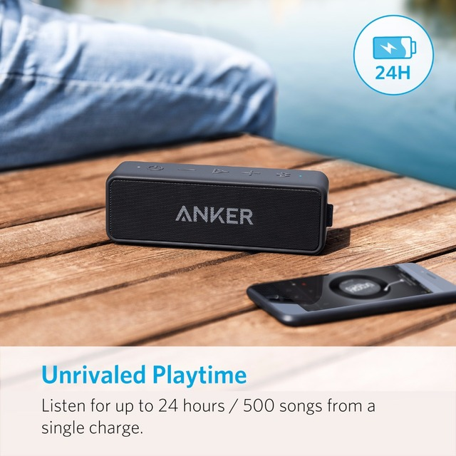 Anker Soundcore 2 Portable Bluetooth Wireless Speaker Better Bass 24-Hour Playtime 66ft Bluetooth Range IPX7 Water Resistance 3