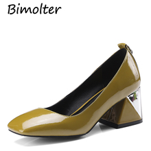 Bimolter Genuine Leather Shoes Metal Decoratiion Women Slip On Square Toe Shoes 2018 Autumn New Strange High Heels Pumps LCEA008 цена 2017