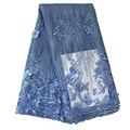 Ourwin Polvo azul del cordón mujeres, 3D flor Tulle tela africana del cordón, alta calidad del cordón tela africana del cordón de Tulle