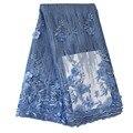 Ourwin Pulver Blau Spitze Stoff Frauen, 3D Blume Tüll Afrikanische Spitze Stoff, hohe Qualität Spitze Afrikanische Tüll Spitze Stoff
