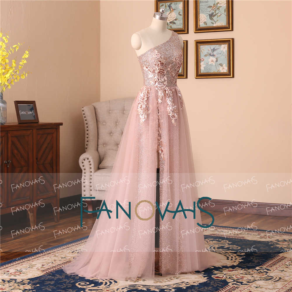 451aac6a19151 Charming Prom Dresses 2019 One Shoulder Evening Dresses Long Tulle Sequin  Lace Beaded Prom Party Gown Vestido de Fiesta NE8