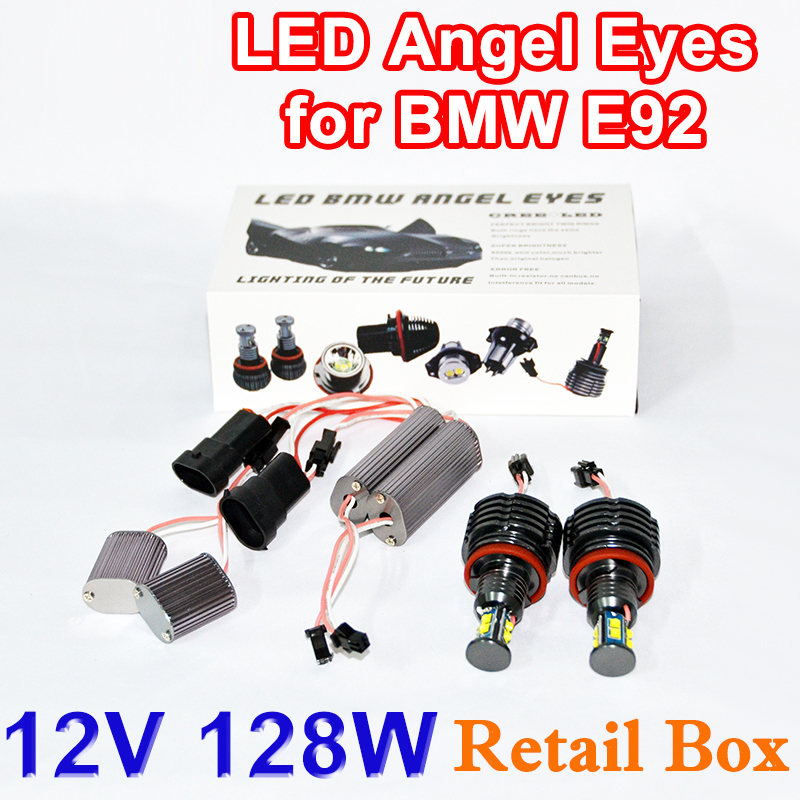 1 Set 2*64W 128W H8 LED Marker Angel Eyes Gift Box 7000K XENON White for BMW E90 E92 M3 E60 E70 X5 E71 X6 E82
